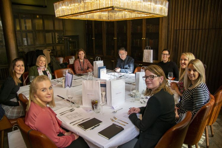 Working Lunch shared ownership group image March 2020ght (around the table) Lucy Parr, Helen Spencer, Jennifer Hankinson, Helen Reddington, Mark Cantrell, Sofia Leroux, Lauren Fisher, Sandy Kelly, Sarah Tate. (Demo)