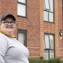 A woman called Chloe Fox outside For Housing's new anti-homelessness housing development on Haddon Road in Salford.
