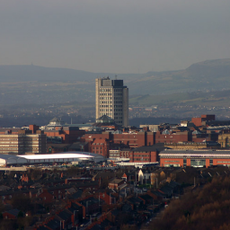 An aerial view of Oldham town centre.
