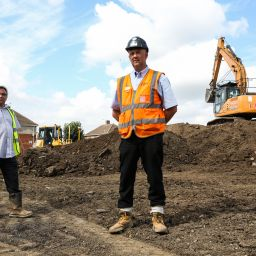 A picture of two men on a construction site in Hartlepool.