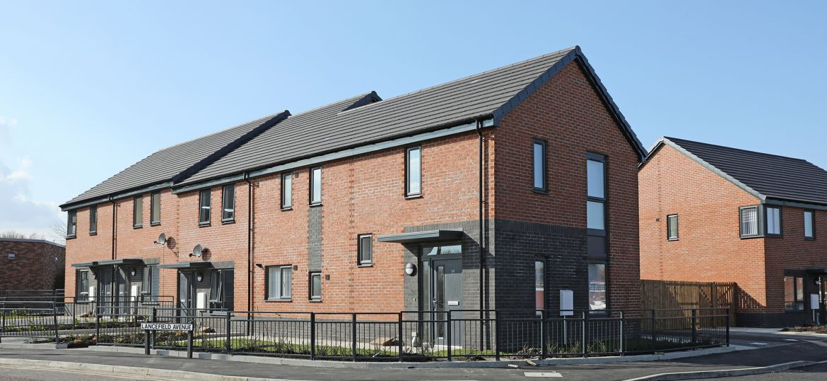 A picture of new homes on Chalfont Road in Newcastle.
