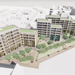 An architect's drawing of how the new 'Future Homes' development will look.