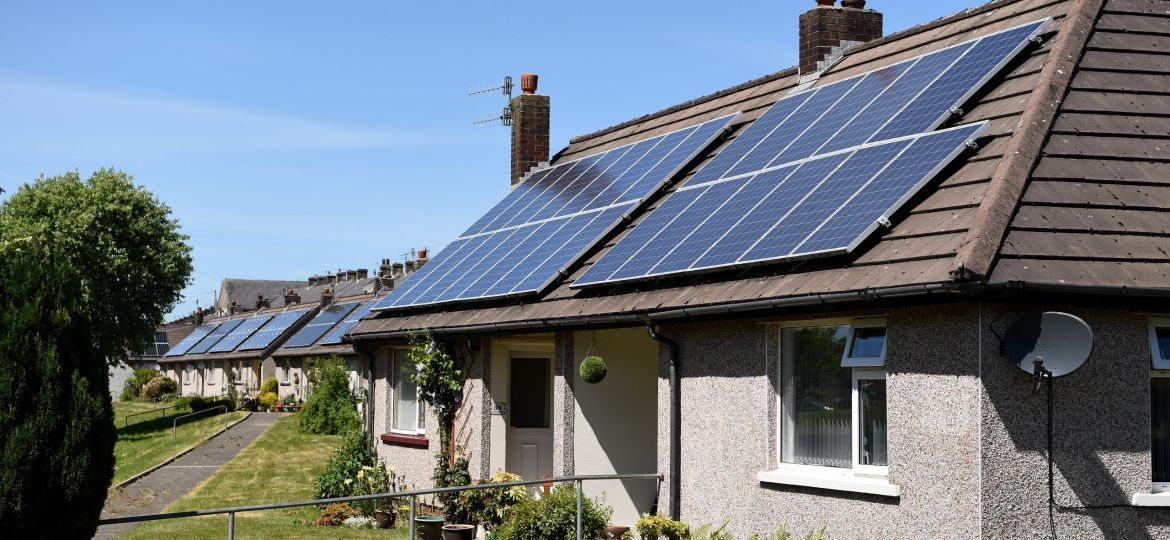 A set of houses with solar panels installed on them in Colne, Lancashire.