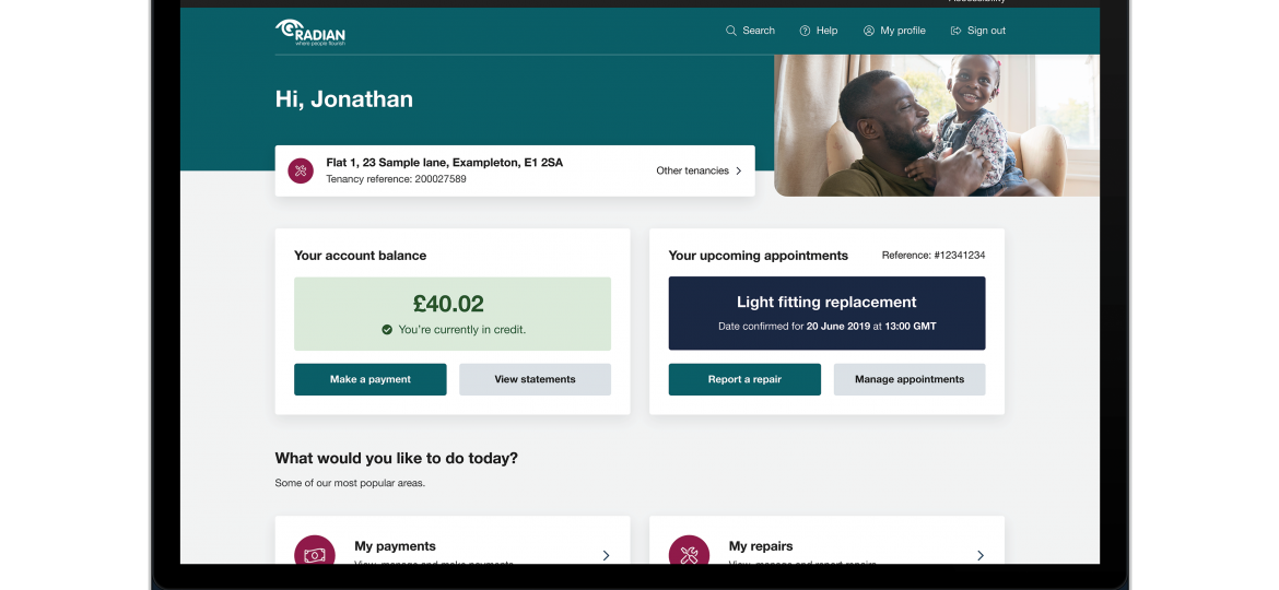 A screenshot of the MyRadian tenant portal developed by Active Housing.