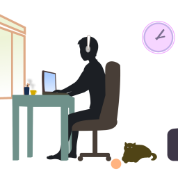 An image of someone at a desk working from home.