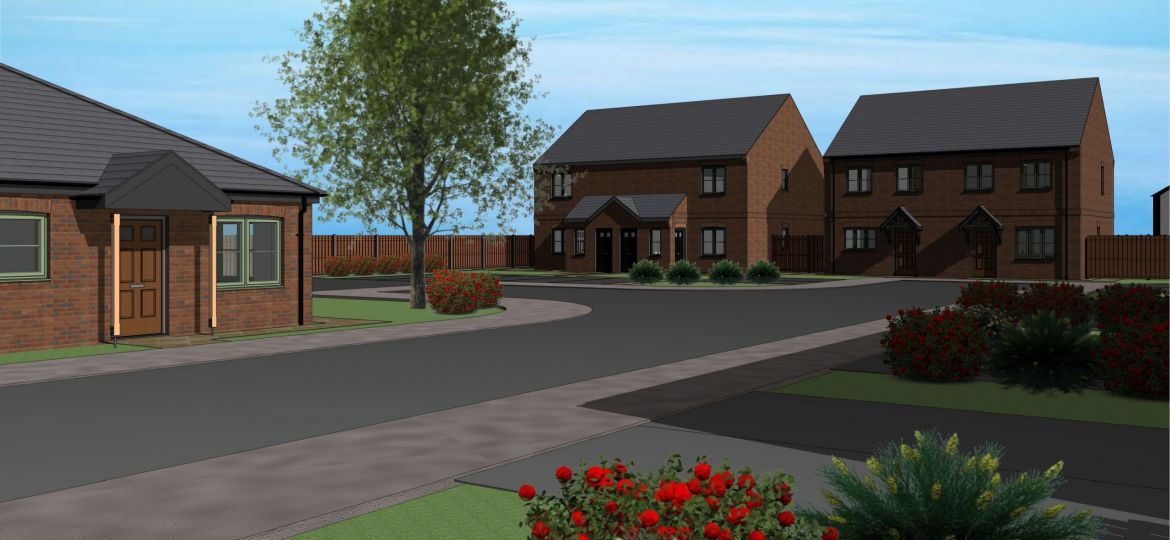 An architect's drawing of the new Hinderwell Lane development in Staithes, North Yorkshire.