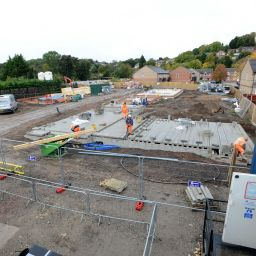 Construction workers on site at Longhurst Group's Vale Road development in Colwick.