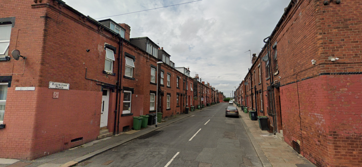 A row of red-brick terraced houses on Recreation Place, Holbeck, Leeds.