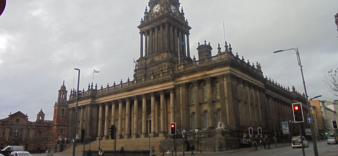 A landscape shot of Leeds Town Hall on 8th February 2018.