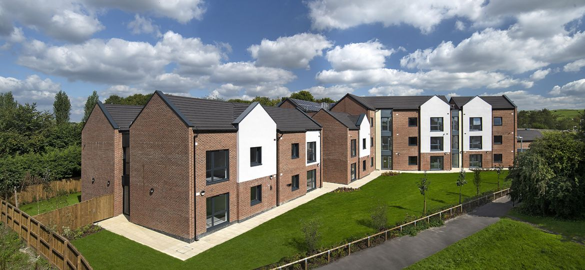 A landscape view of the new River Beal extra care development in Milnrow, Rochdale.