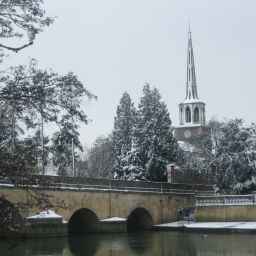 Wallingford Bridge and St. Peters parish church in Wallingford, Oxfordshire.