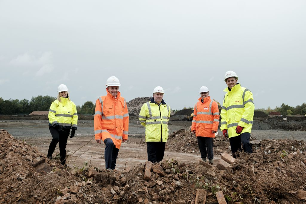 Five people on a construction site in Walsall, the West Midlands.