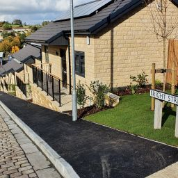 A view of the new homes on Bright Street in Colne, Pendle. The street sign is visible.
