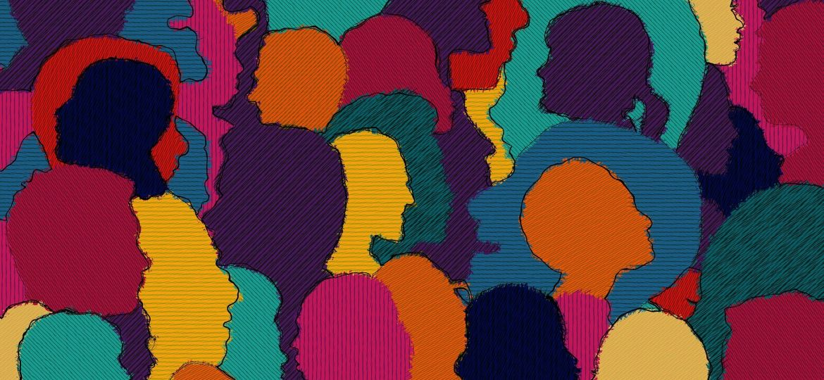 A collage of silhouettes of people's heads in various colours.
