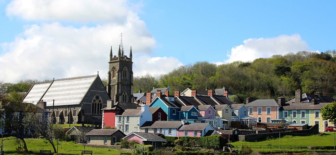 Houses in Aberaeron, Ceredigion, Wales.