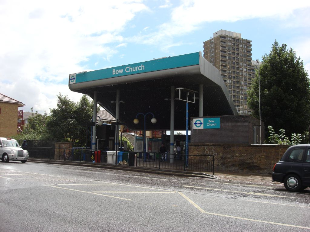 The entrance to Bow Church DLR station in Bow, Tower Hamlets.