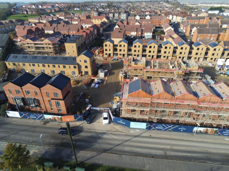 An aerial view of Catalyst's The Printworks development in Dunstable, Bedfordshire.