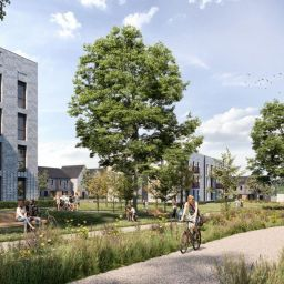 A CGI impression of Legal & General's modular homes in Lockleaze, Bristol.