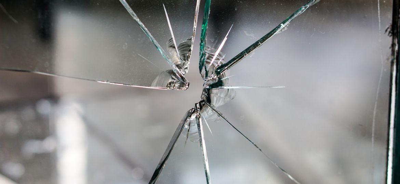 A cracked window pane.