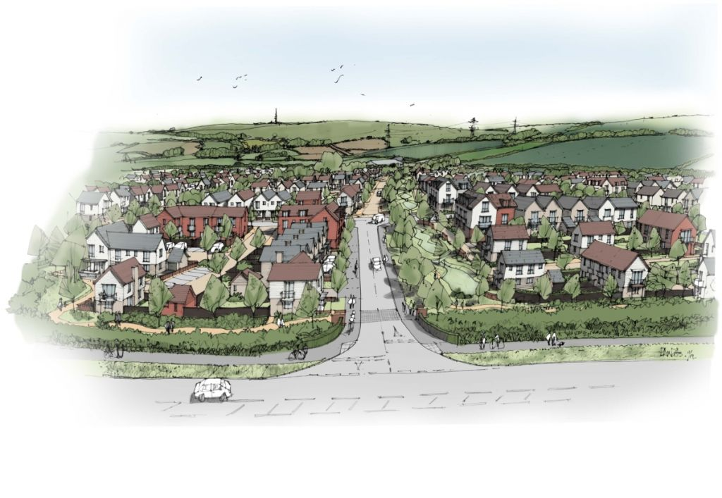 An artist's impression of the 500-home scheme in Weymouth, Dorset.