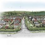 An artist's impression of the proposed 500-home scheme on the outskirts of Weymouth, Dorset.