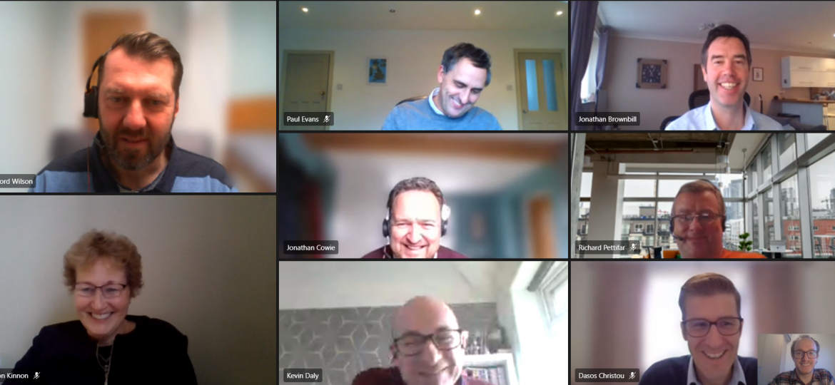 A screenshot of guests at Housing Executive's latest virtual roundtable in January 2021. Guests are smiling at their cameras.