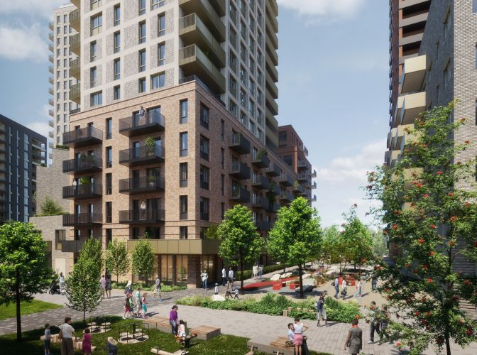 A CGI of The Verdean at Friary Park Acton once it has been completed.