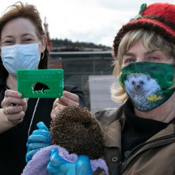 From left to right: Councillor and hedgehog expert Anne Watts (right, with rescued hedgehog) with Beyond Housing Development Manager Frances Barlow.