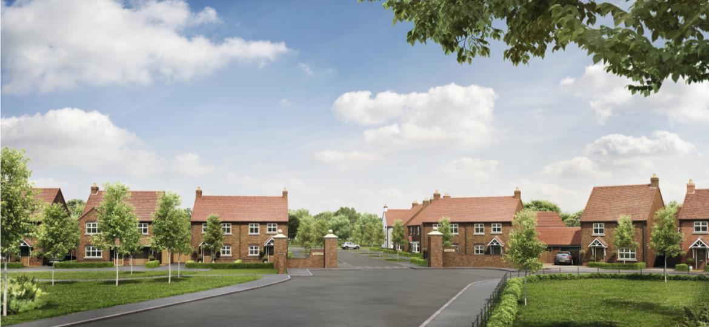 A CGI of the Heath Farm Lane development in Partington, Trafford.