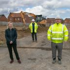 Work is now under way on Beyond Housing's £16m development of 113 new homes for sale at Mill Meadows, Filey. Pictured (from left).. Termrim Construction Quantity Surveyor Barry Stockman, Beyond Housing Development Manager Karen Howard, Termrim Construction Development Director Simon Taylor, Construction Manager Gerry Doherty and Site Manager Andy Longden