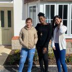 Three new members of Betsi Cadwaladr University Health Board nursing staff at their new home provided by Adra.