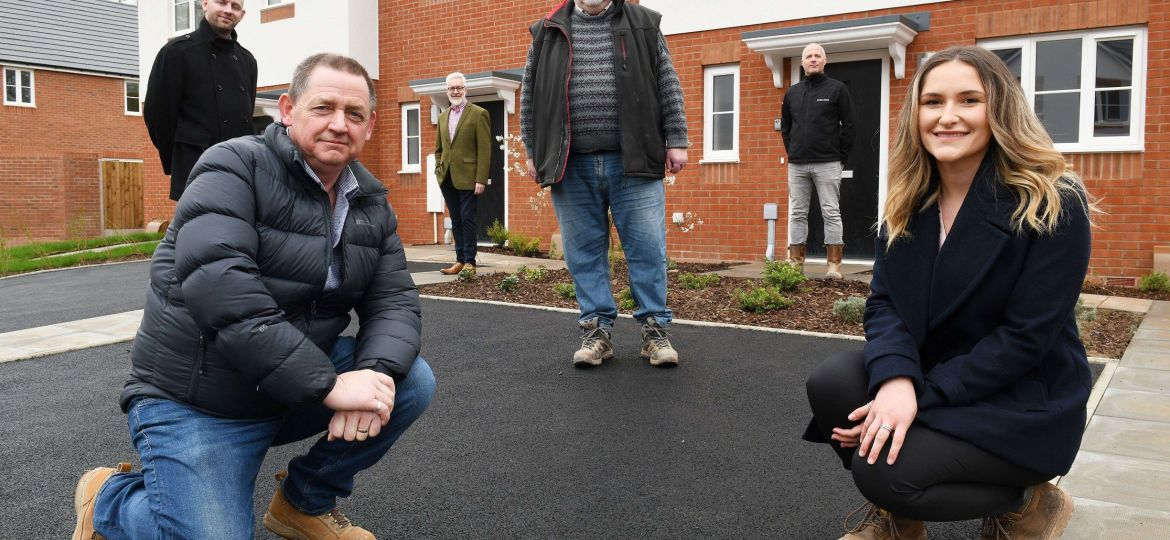 Image (L-R): Aidan Weir from Stonewater, Mick Brennan and Phil Morgan from Living Space, Stephen Hale from Waldeck (Employers Agent), Dan Summers from Living Space, and Erica Hillman from Stonewater. Credit: Living Space Housing.