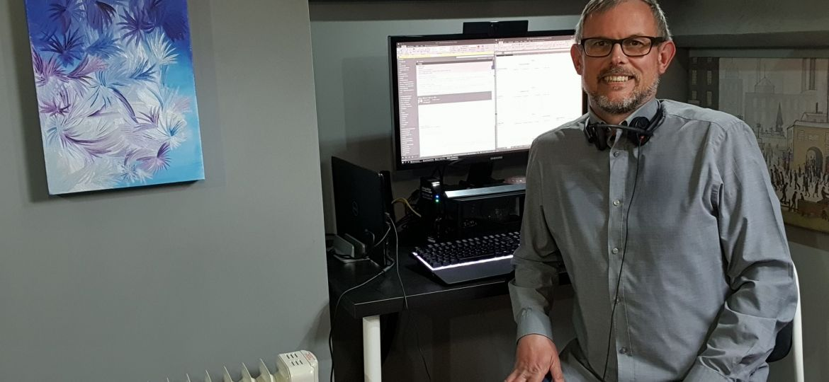 Vaughn Atkinson, Stonewater's commercial services co-ordinator, working from home.