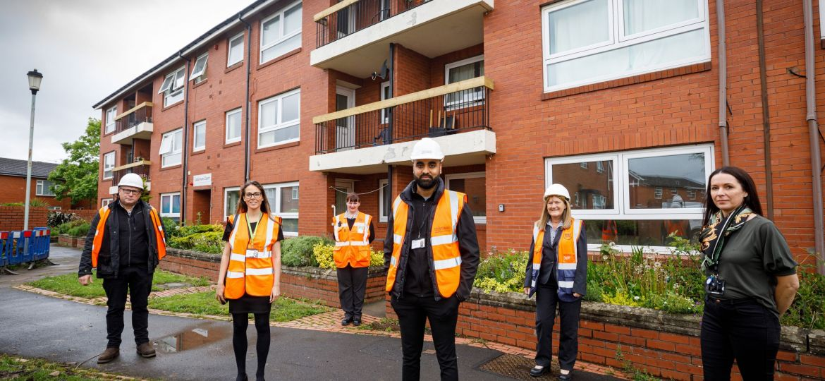 Thirteen and Esh staff at Laburnum and Magnolia Courts in Stockton-on-Tees.