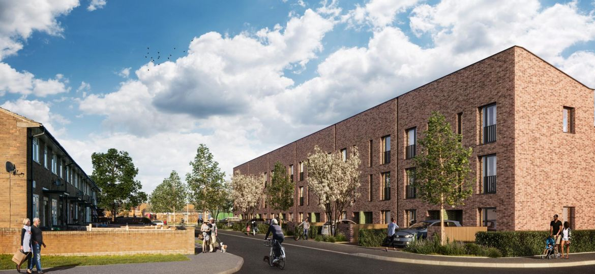 A CGI of Manchester City Council and FEC's development in South Collyhurst.