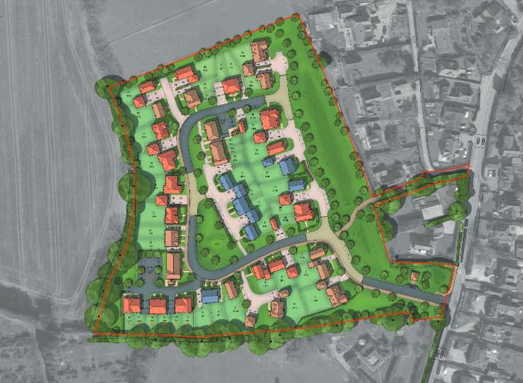 A site plan of Stonewater's Pond Copse Lane development in Loxwood, West Sussex.