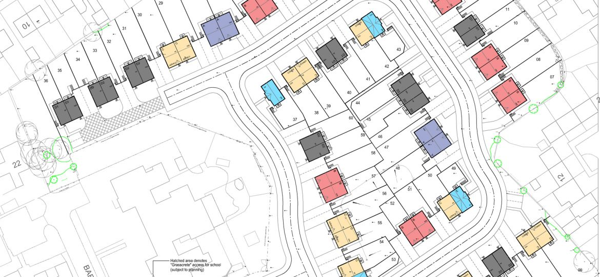 The site map for Mulbury's development in Barnes Road, Skelmersdale.