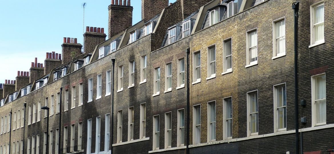 A row of terraced houses in London.